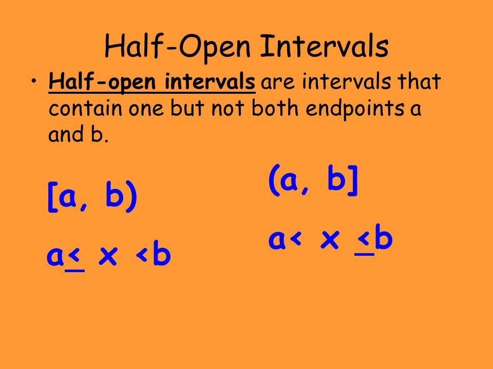 (a, b] [a, b) a< x <b a< x <b Half-Open Intervals